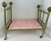 Vtg Brass Doll Bed Or Salesmanand039s Sample With Brass Finials Wheels And Mattress