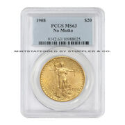 1908 20 Gold Saint Gaudens Double Eagle Pcgs Ms63 No Motto Choice Graded Coin