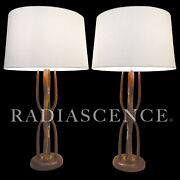 Pair Danish Walnut Atomic Modern Modeline Link Table Lamps 1950and039s Pearsall Kagan