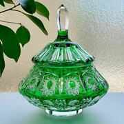 Used Old Baccarat Bonbonniere Candy Pot Cover Green Kiriko Accessory Case