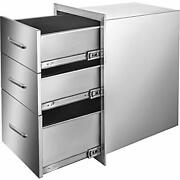 Mophorn 18x23 Inch Outdoor Kitchen Stainless Steel Triple Access Bbq Drawers Wit