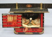 Vintage Edo Period Hina Dolls Makie Gold Lacquer Young Doll Palanquin