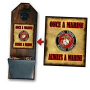 Marine Corps Bottle Opener And Cap Catcher, Wall Mounted - Handcrafted By A