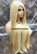 Free Part Human Hair Blend Lace Front Full Wig Long Layered Light Blonde Mix