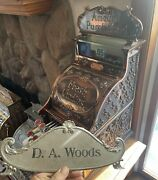 Antique Brass National Cash Register Top Sign Double Sided Ncr Rare