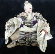 Antique 19c Japanese First Emperor Jimmu Doll W Swords In Ornate Armory Dress