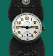 Vintage 1915 Antoine Lecoultre Silver Men's Wwi Military Trench Watch Porcelain