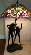 29 Bronze Antique Style Frog Table Lamp W/ Stained Glass Shade