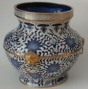 Fine Pair Of Chinese Blue And White Cloisonne Enamel Cache Pots/vase W/ Gold Gilt