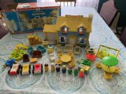 Vintage Fisher Price Little People Yellow House With Box Extra Pieces