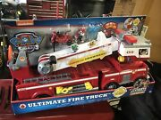 Paw Patrol Ultimate Rescue Fire Truck W/ Extendable With 2 Ft Ladder/dial Watch