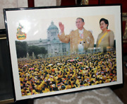 King Bhumibol 9th Rama Thai King And Queen Picture W/ 18x24 In. Frame
