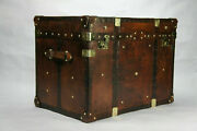 Antique Leather Finest English Large Leather Steamer Trunk Coffee Table