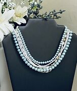 Blue Faux Pearl Beaded 8-strand Choker Collar Vintage Necklace Costume Jewelry
