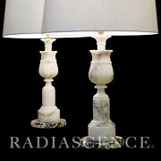 Pair Lg Neo Classic Marble French Columns Hollywood Regency Modern Lamps 1950and039s