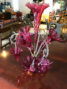 Antique Victorian Cranberry Glass Epergne 4 Trumpets 3 Hanging Baskets C1880