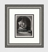 Frans Van Mieris 1800s Engraving The Scholar With A Quill Pen Signed Framed Coa