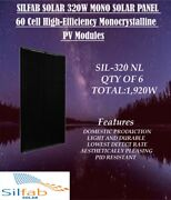 Qty Of 6-sil-320 Nl 60 Cell Mono Solar Panel- Total1920w