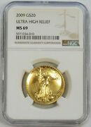 2009 Gold 20 Ultra High Relief Uhr 1oz Coin Ngc Mint State 69