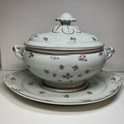 Mottahedeh Flower/rose Serving Soup Tureen With Underplate