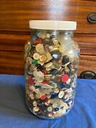 Huge Lot Of Buttons Over 6 Lbs All Shapes,sizes And Material 3 In Gallon Jar