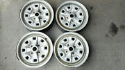 Mg Midget Sprite Early Rostyle Wheels Square Hole Set Of 4 Rims 1970 1971