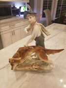 Large Royal Dux Porcelain Figurine Boy With Dog Hunting 13 Tall Czech2867 Mint