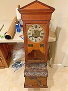 Antique National Time Recorder Co. Time Clock In Beautiful Casework With Copper