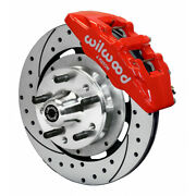 Wilwood For Ford Mustang 65-69 Brake Kit Dynapro 6 Hub Drill Front 12.19in Red