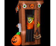 Tall Animated Halloween Inflatable Spooky Outhouse Monster With Door Opening