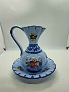 Vestal Alcobaca Portugal Vintage Pottery Hand Painted Blue Pitcher With Saucer