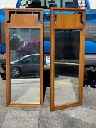 Vintage Mid Century Styled Oak Framed Mirrors W/ Brass Pot Metal Accents