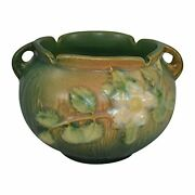 Roseville Pottery White Rose Brown And Green Jardiniere Planter 653-3