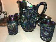 Vintage Imperial Diamond Lace Purple Carnival Glass Water Pitcher 8 Tumblers