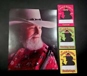 Vintage 2006 Charlie Daniels Signed Photo W/ Three Various Stage Access Passes