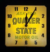 Vintage Ask For Quaker State Motor Oil Wall Clock