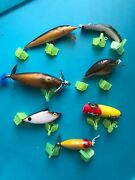 Vintage Antique Old Fishing Lures Total Of 7 As Pictured As A Lot Rare