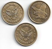 Lot Of 3 Older Veteran Vietnam The Wall Pow/mia And Statue Challenge Coin
