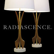 Pair Xl Danish Atomic Modern Modeline Walnut Marble Table Lamps 1950and039s Pearsall