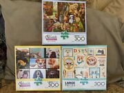 Buffalo Lot Of 3 300 Large Piece Jigsaw Puzzles Dogs Puppy Complete