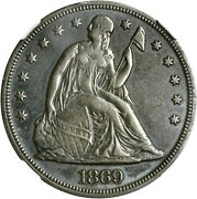 1869 Seated Liberty Silver Dollar Ngc Xf-45-sharp Strike-nicely Toned