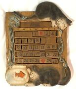 Al Pisano Cat, Yarn And Fishbowl Perpetual Calendar Carved From Wood 1995