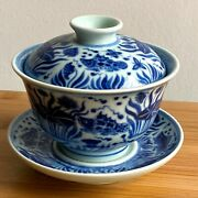 Tea Bowl With Cover And Saucer Chinese Antique Porcelain Blue And White Ceramic