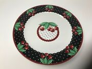 """Vintage Mary Engelbreit 15"""" Cherry Cameo Large Serving Platter Chop Plate 2001"""