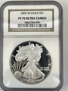 """2005 W S1 Silver American Eagle Ngc Pf 70 Ultra Cameo Top Pop"""""""