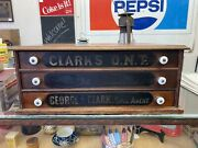 Antique Clark's Ont 3 Drawer Cotton Spool Cabinet Store Counter Display