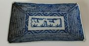 Antique Chinese Blue And White Chenghua Ming Rectangular Porcelain Dish/plate