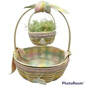Longaberger Large And Small White Washed Easter Basket Set Liners And Protector