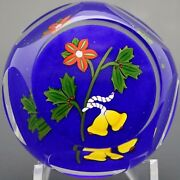 Festive Perthshire Multifaceted Christmas Bells And Holly Art Glass Paperweight