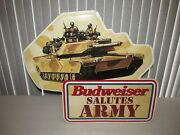 Budweiser Beer Sign Budweiser Salutes Army 1995 Tin Large So Cool Very Rare